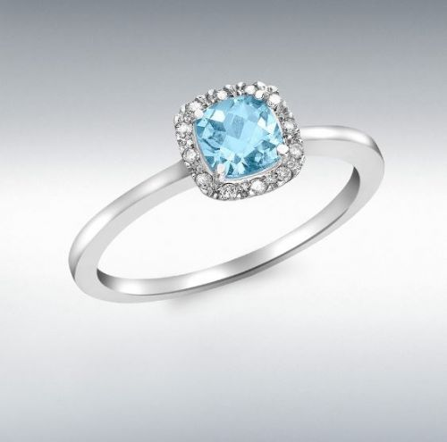 White Gold Blue Topaz And Diamond Cluster Ring
